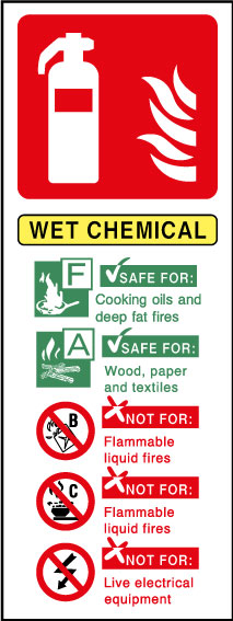Fire extinguisher wet chemical sign