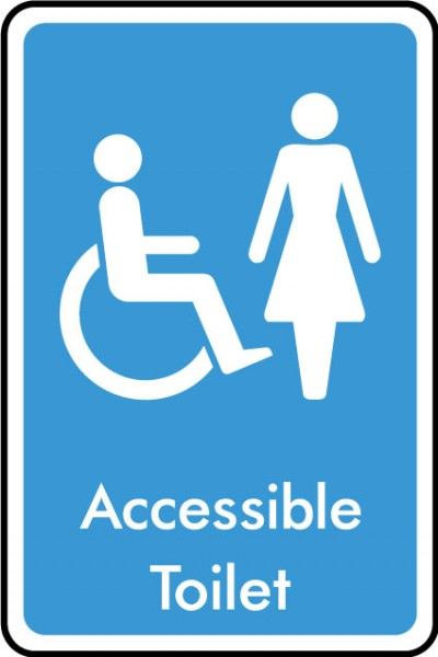 Accessible ladies toilet sign