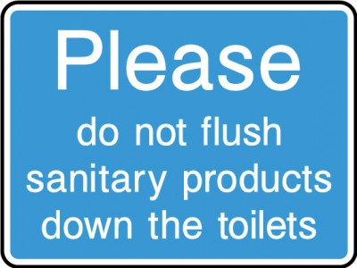 Do not flush sanitary products sign