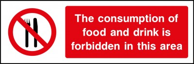 Food and drink forbidden in this area sign