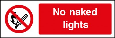 No naked lights sign