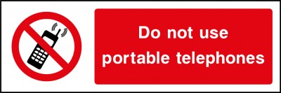 Do not use portible telephones sign