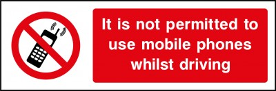 Do not use mobile when driving sign