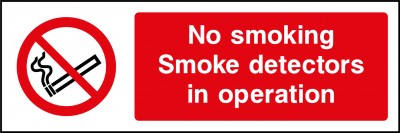 Smoke detectors in operation sign