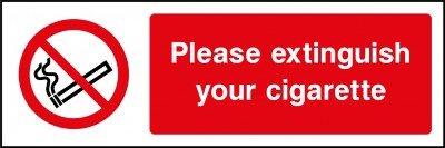 Extinguish your cigarette sign