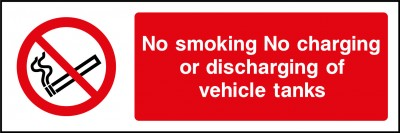 No charging or discharging of vehicle tanks sign