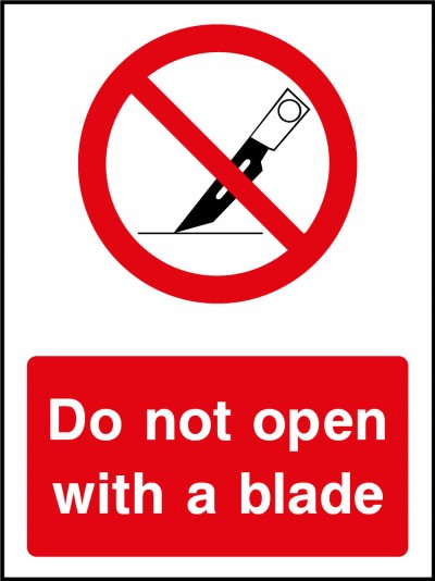 Do not open with a blade
