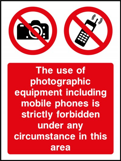Photographic equipment forbidden sign