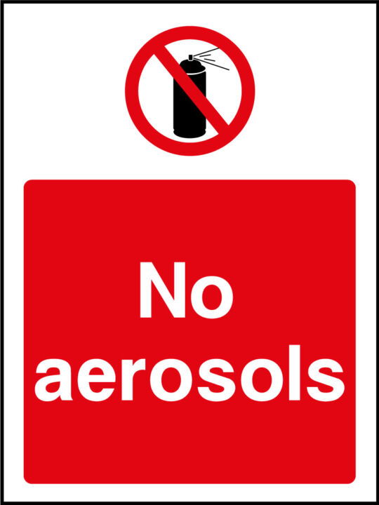 No Aerosols Sign Health And Safety Signs