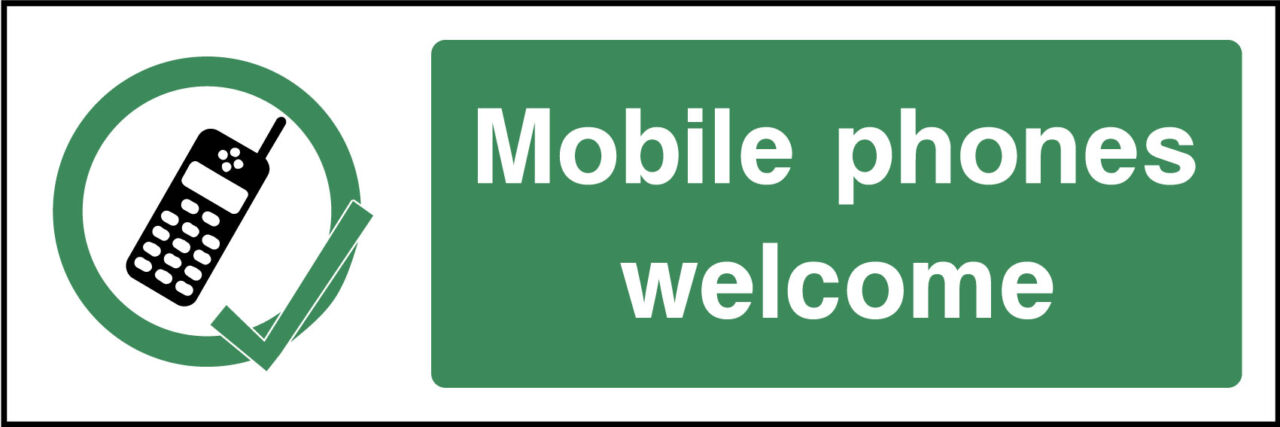 Mobile Phones Welcome Sign Health And Safety Signs