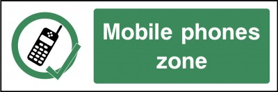 Mobile phones zone sign