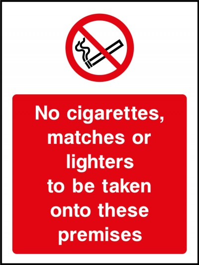 No cigarettes, matches or lighters sign
