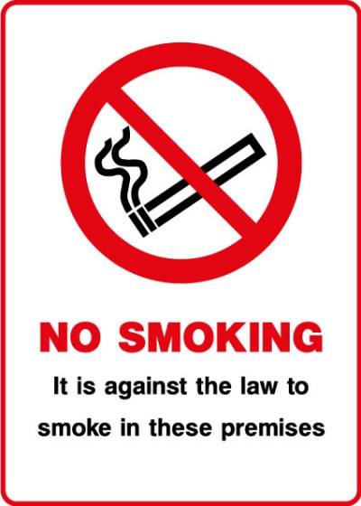 Smoking in this premises is not permitted clear window sticker