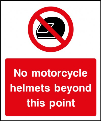 No motorcycle helmets sign