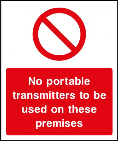 No portable transmitters sign