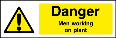 Men working on plant sign