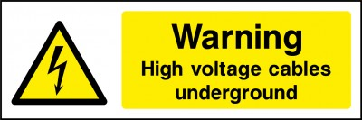 High voltage cables underground sign