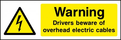 Beware overhead electric cables sign