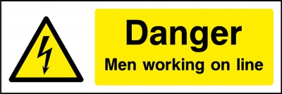 Men working on line sign