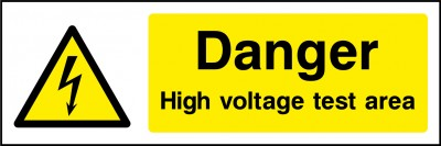 High voltage test area sign