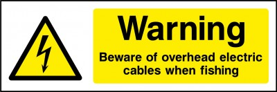 Overhead electrical cables sign