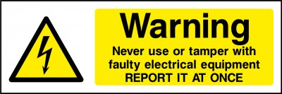 Faulty electrical equipment sign