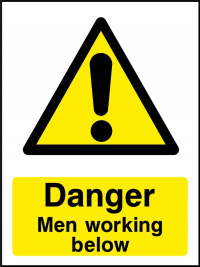 Men working below sign