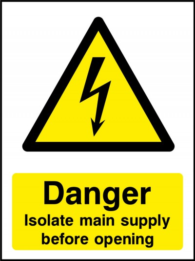 Isolate mains sign