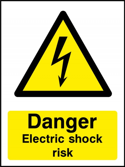 Electric rhock risk sign