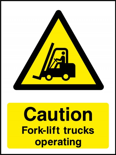 Forklift trucks operating sign