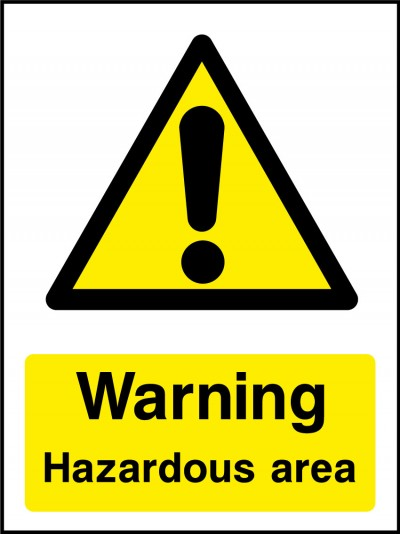Hazardous area sign