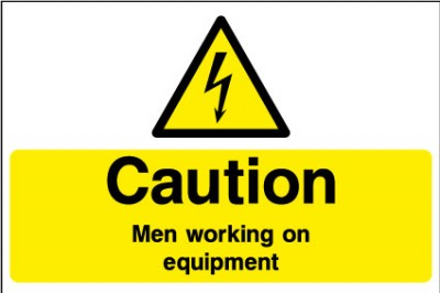 Men working on equipent sign