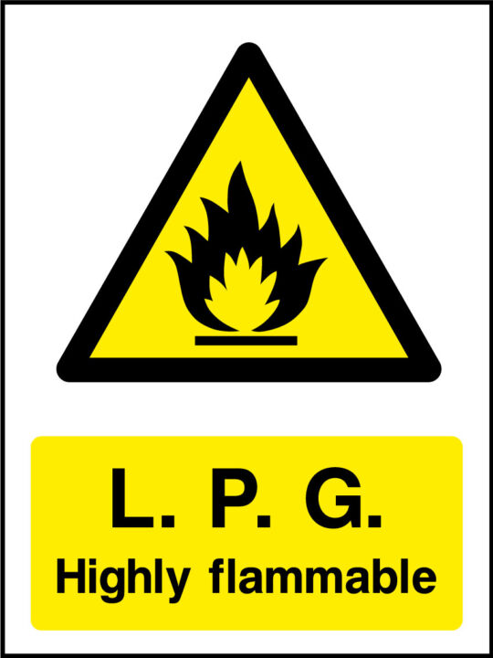 Lpg highly flammable sign health and safety signs buycottarizona