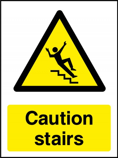 Caution stairs sign