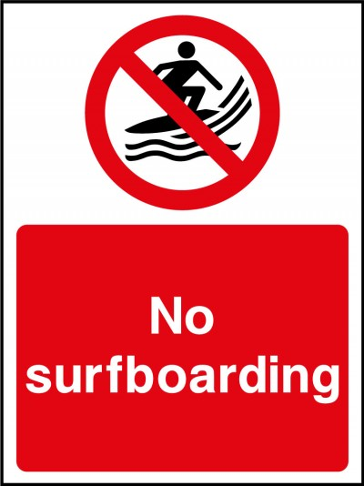 No surfboarding sign