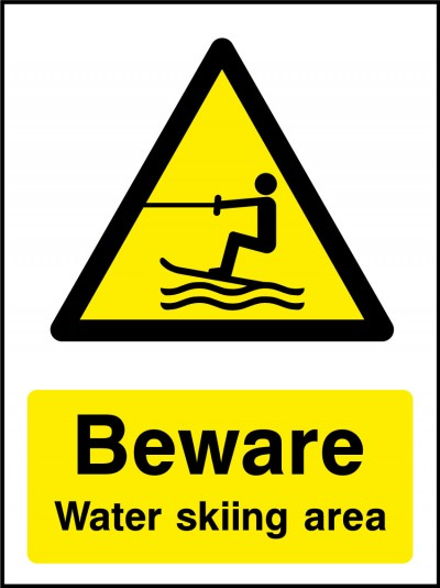 Water skiing area sign