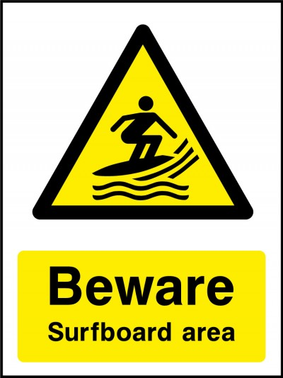 Surfboarding area sign