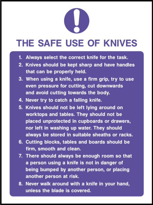Safe Use Of Knives Sign Health And Safety Signs