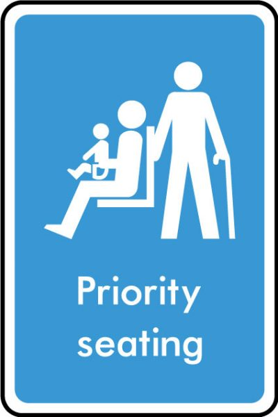 Priority seating sticker