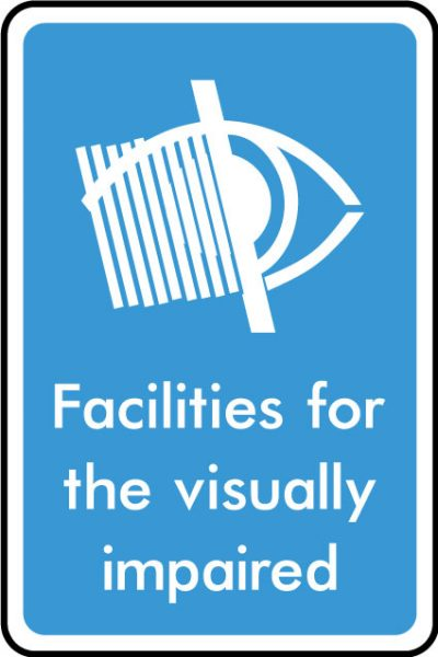 Visually impaired facility sticker