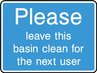 Leave basin clean sticker