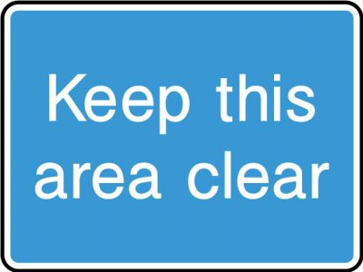 Keep this area clear sticker