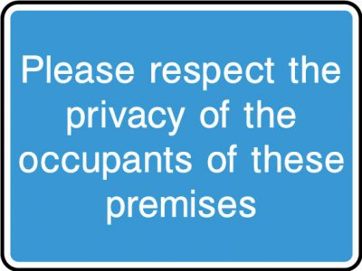 Please respect occupants privacy sticker