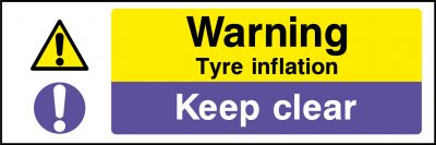 Tyre inflation keep clear sticker
