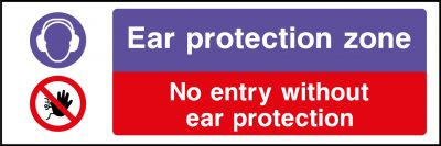 Ear protection zone sticker