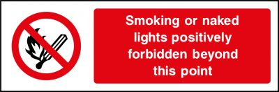 No smoking or naked lights sticker