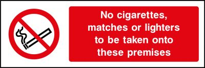 No cigarettes, matches or lights sticker