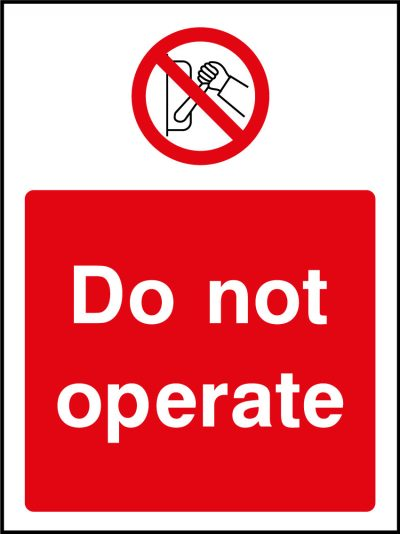 Do not operate sticker