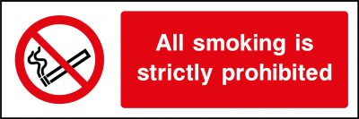 All smoking is strictly prohibited sticker