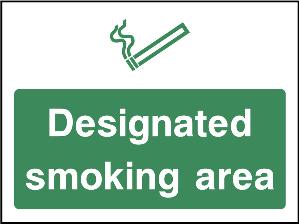 Designated Smoking Area Sticker Health And Safety Signs